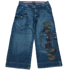 Fiorucci Floral Embroidered Hi-Rise Cropped Jeans